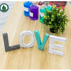 Rustic Wood Love Sign, Decorative Wooden Block Word Signs, Freestanding Wooden Letters, Rustic Love Signs for Home Decor,16.5 x 5.9 Inch, Multicolor