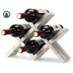 Rustic Pine Wood Wine Rack, Geometric Design 4-Bottle Storage Organizer