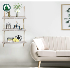 Wall Hanging Shelf, 3 Tier Distressed Wood Swing Storage Shelves Jute Rope Organizer Rack, Rustic Home Wall Decor (White)