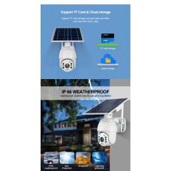 1080P PTZ Dome Solar powered Camera PIR Motion Detection Alarm Solar CCTV Camera