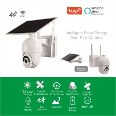 SURWAY Wireless Battery Solar Powered Outdoor 1080P Pan Tilt WiFi Security Camera PIR Motion Recording Two-Way Audio IP65 Weatherproof Night Vision Built-in SD