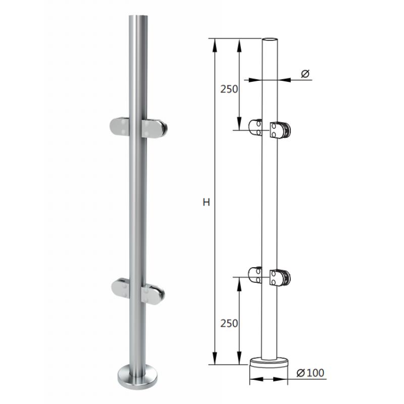 german craft glass pillars frameless handrail balustrade stair railing stainless steel post