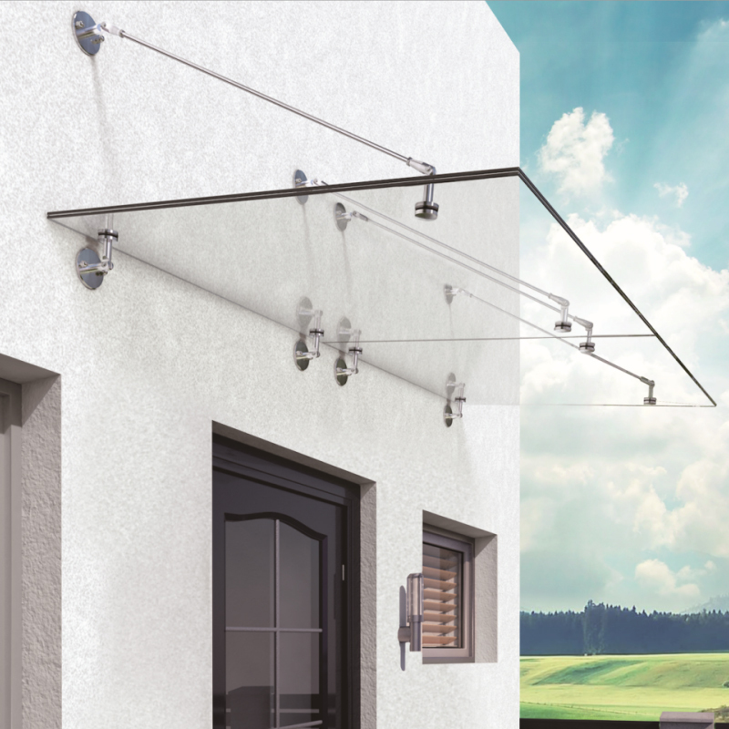 modern design glass awning canopy AISI316 corrosion resistance awning canopy glass system