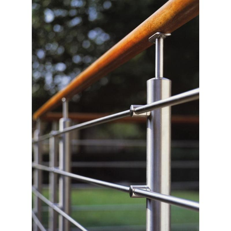 easy install deck handrail railing fitting satin finish stainless steel round tube domed end caps