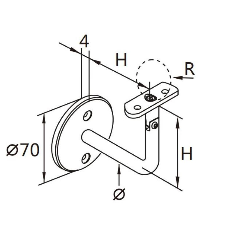 staircase flange stainless steel handrail wall bracket for handrail