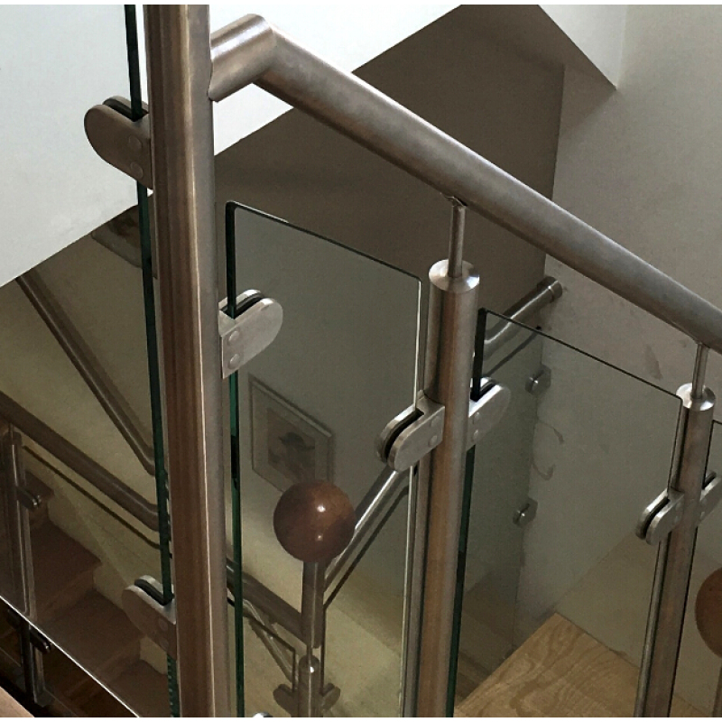 stainless stair railings glass clip flat back square stainless steel staircase railing glass clamp