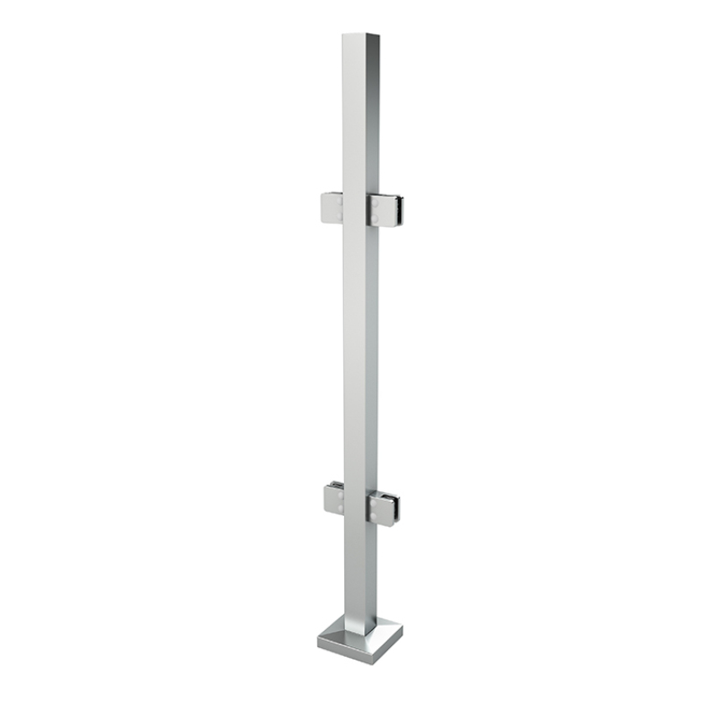 german craft casting stainless steel stair handrail glass clamp square vertical newel post