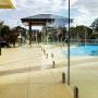 custom swimming pool fence stainless steel glass spigot corehole black glass spigot