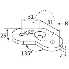 135 degree angle stainless steel handrail saddle connecting plate for corners set