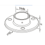 neck wall flange stainless steel handrail pipe fitting floor flange with 3 mounting holes