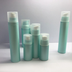 Wholesale round shape matte yellow luxury cosmetic lotion body care 30ml 1oz airless pump bottle