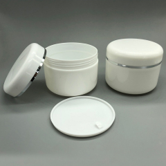 Duannypack hot sale double wall white PP cosmetic plastic jar 8oz 250g plastic cosmetic jar