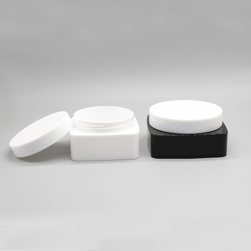 150g Plastic Square Cosmetic Container Jar for Cream with Round Screw Cap