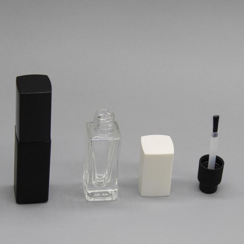 wholesale slim square empty mini gel polish bottle with white cap and brush