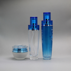 DNLB-514 Blue Glass Cosmetic Set with Double Layer Cap