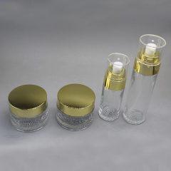 hot sale 20g 50g clear face cream glass jar set and bottle with gold cap glass jar cream