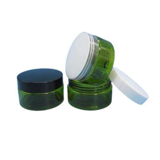Custom 2oz 4oz 8oz Dark Green PET Plastic Cosmetic Jars with Lid