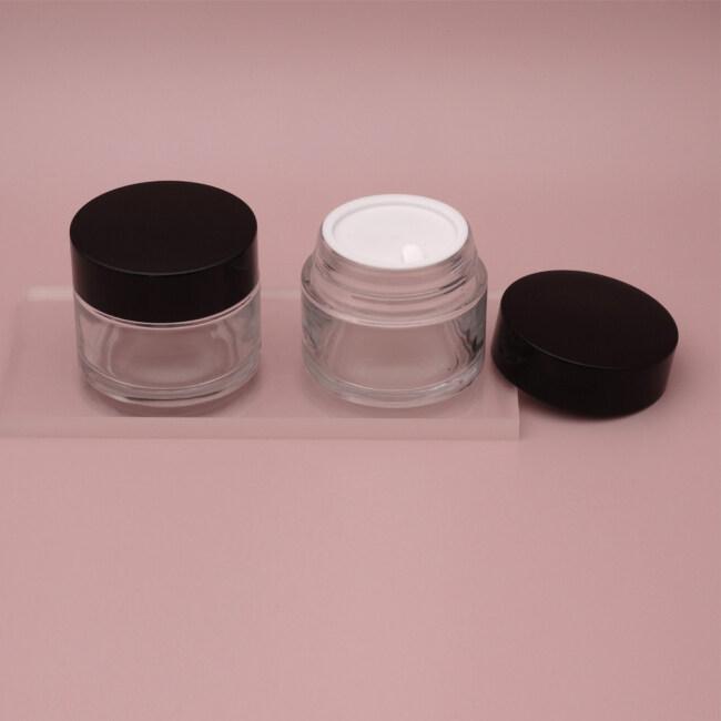 2021 new arrival glass cream jar set 100g clear glass jar for cosmetic face cream jar glass for cream
