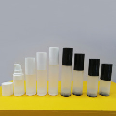 Wholesale plastic eco friendly cosmetic serum 30ml matte clear airless frosted bottle with pump