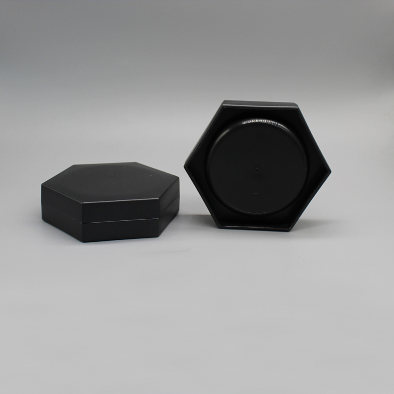 80g Black PP Hexagon Cosmetics Jars Container for Hair Care