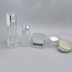 DNLB-511 Glass Square Lotion Bottle and Cream Jar Set