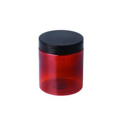 Custom 150ml 200ml 250ml 400ml 500ml Round Amber PET Plastic Jar with Black Lid