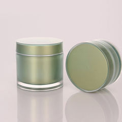 whoelsale 5g 10g 15g 30g 50g 100g 150g 200g factory acrylic round beauty product containers green plastic bottles