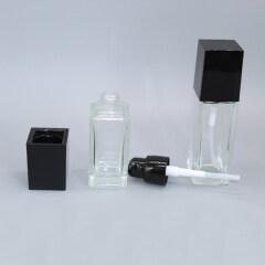 DNLB-510 Glass Square Lotion Pump Bottle with Black Cap