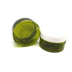 Custom 50ml 100ml 150ml 200ml Olive Green PET Plastic Cosmetic Jars with Lid