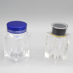 Wholesale Plastic Clear Square Cosmetic Powder Jar Container for Loose Powder