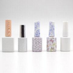 wholesale unique shape black nail care oem glass nail polish bottle packaging