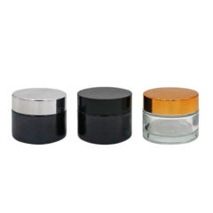 Empty High Quality 60ml Amber Round Glass Jar with Gold Metal Lid in Stock