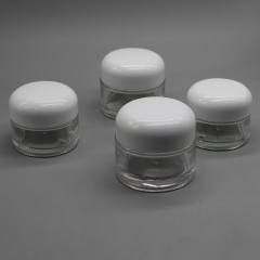 Wide Mouth 30g 50g Designer Round Rlass Face Cream Container with White Lid