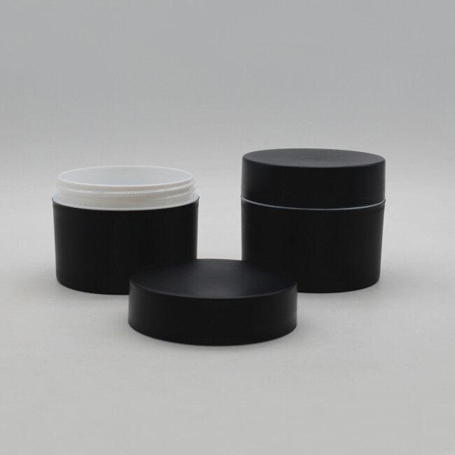Custom Color Logo Duannypack cosmetic 50 150 250g matte black PP cream jar