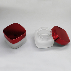 Wholesale Body Scrub Jar Smooth Cosmetic Square 50Ml Cream White Glass Storage Jar With Lid Glass