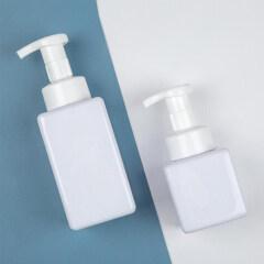 hot sale 250ml 450ml clear white pet cosmetic face cleanser skincare hand foam pump bottle plastic square foam pump soap bottle