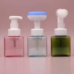 Wholesale Unique Purple Square Transparent Foaming Pump 50ml Plastic Foam Bottle