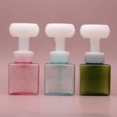 Wholesale Pressure Foaming Soap Purple Square Transparent Color Rose White Foam Pump Bottles