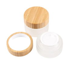 Luxury 30ml Small Frosted Cosmetic Glass Jars  Bamboo Lid for Cream