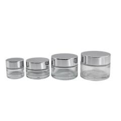 Printing loog 15ml 30ml 50ml 100ml  Round Glass Cosmetic Jar with Aluminium Lid