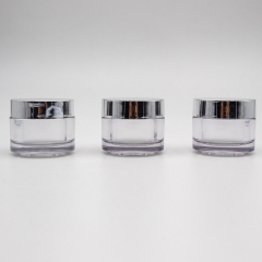 wholesale cosmetic 30g 50g empty fancy cream cosmetic skincare jar with silver cap