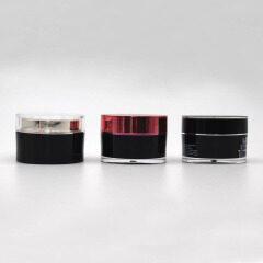 wholesale 15g 30g 50g 100g 150g 200g black light round plastic cosmetic jar acrylic clear round jars