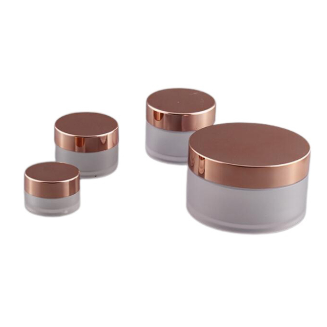 Custom 1oz 2oz 4oz Frosted Heavy Thick Wall PET Cosmetic Jar with Rose Gold Lid