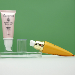 Wholesale cosmetic skincare round shape airless 30ml pump tube pink 20ml airless tube for skincare