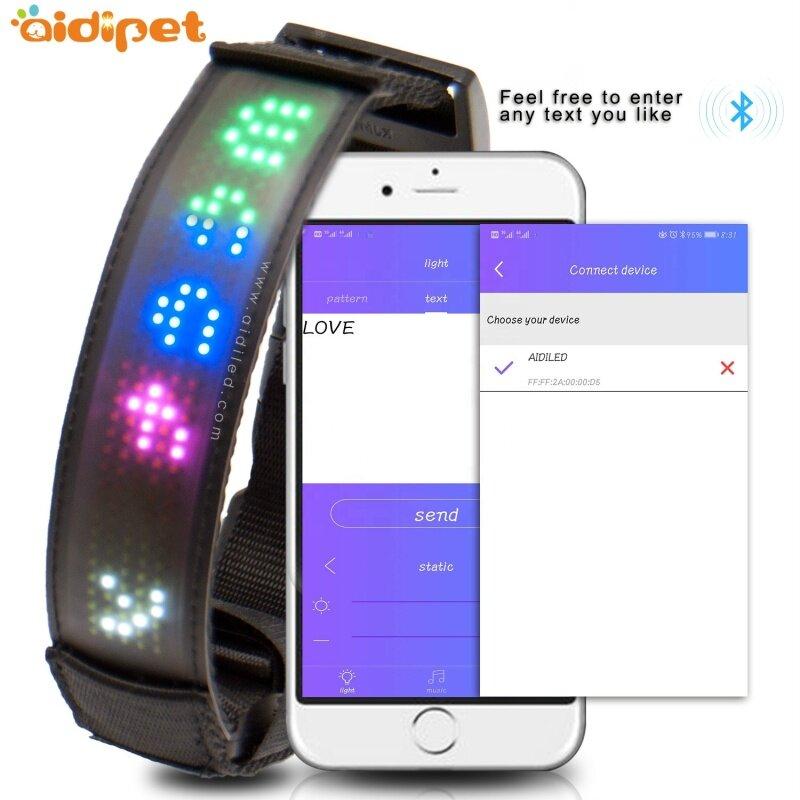 Smart APP Led Controlled Dog Collar DIY Text Led Dog Collar Display Led Collar