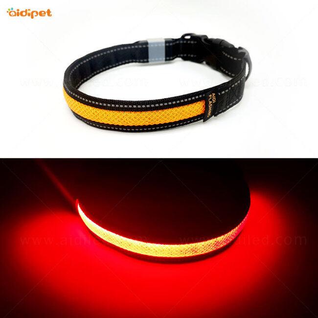 LED Lights Dog Pets Collars Adjustable Nylon Glow In Night Pet Dog Collar Light Luminous Pet Collar