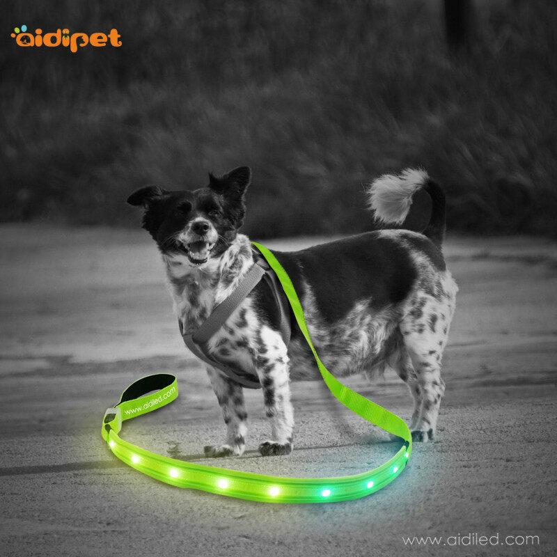 New Arrival RGB Light Up Leash illuminating Led Dog Nylon Pet leash Glow in the Dark Fascinating  RGB Led Dog Lead