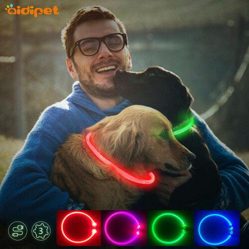 2021 Led Dog Collar USB Rechargeable  Safety Collar Light Stylish Amazon TPU Luminous Dog Collar