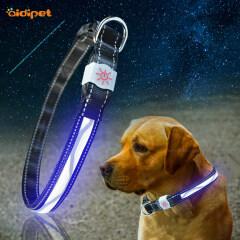 Wave Pattern Led Pet Dog Cat Collar Light Rechargeable Nylon Dog Collar Leash 2021 Style