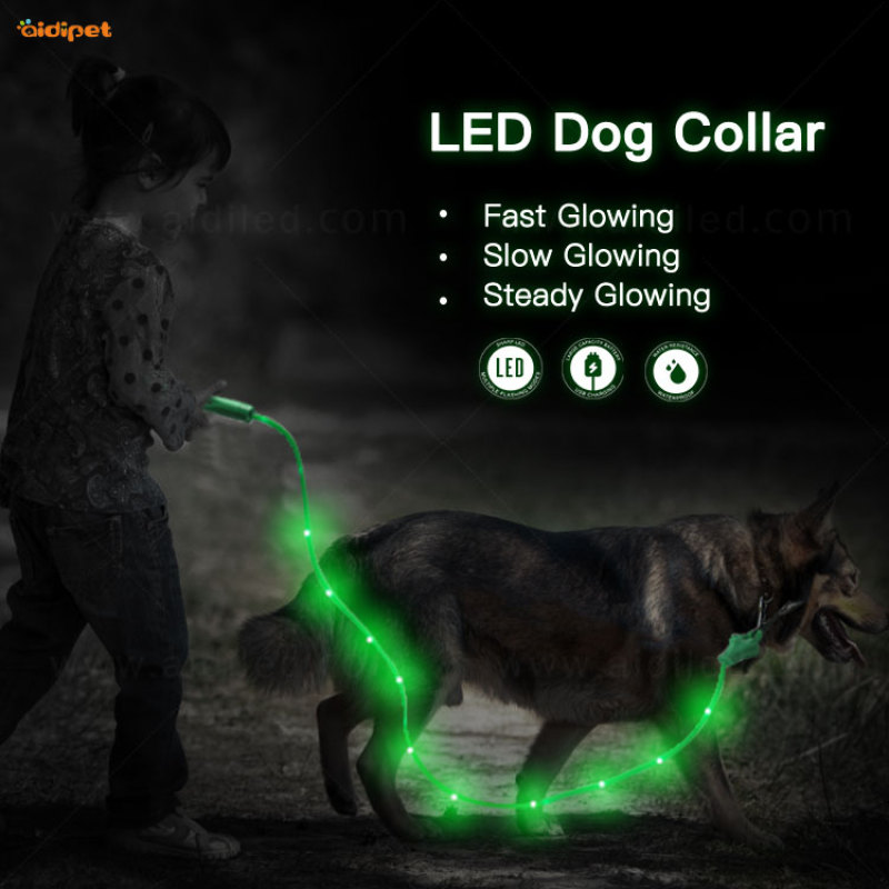 dog lead Automatic portable led rope retractable dog leash 5M with poop bag Dispenser and